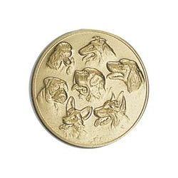 Pastille dorée Chien 25 ou 50 MM