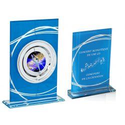 Trophée Verre Bleu personnalisé