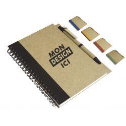 Bloc-notes papier recycabe avec stylo